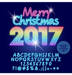 Light up rainbow merry christmas 2017 greeting car vector