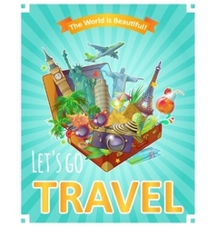 Lets Go Travel Poster vector image