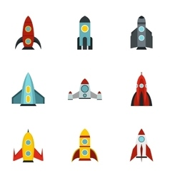 Types of rocket icons set flat style vector