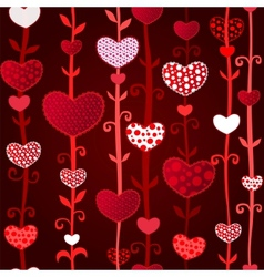 Red Dark Love Valentins Day Seamless Pattern vector image
