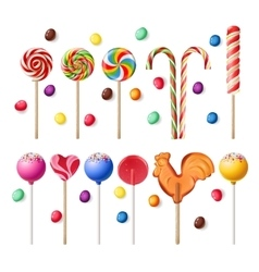 Collection of lollipops with a variety designs vector