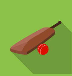 Cricket bat and ball icon in flat style isolated vector