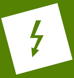 High voltage danger sign  white icon vector