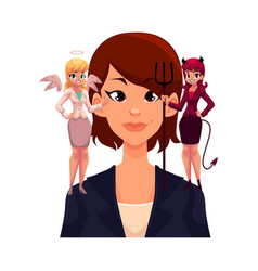 Business woman with angel and devils decision vector