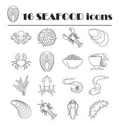 Collection of line seafood icons vector