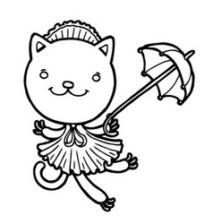 Cute kitty in a dress with an umbrella vector