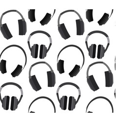 seamless texture with flat headphones on a white vector image