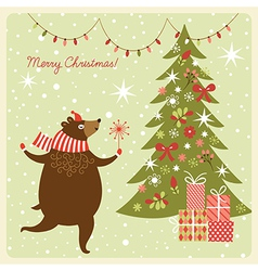 Christmas card funny bear dance vector