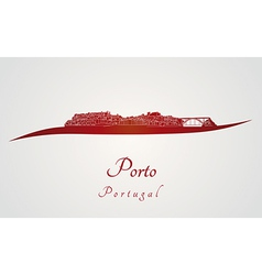 Porto skyline in red vector