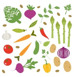 Fresh vegetables set vector