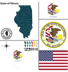 Map of Illinois with seal vector image