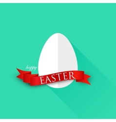 Easter with egg and red ribbon happy easter vector