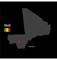 Detailed map of mali and capital city bamako with vector