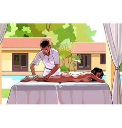 Cartoon man makes a woman a massage vector
