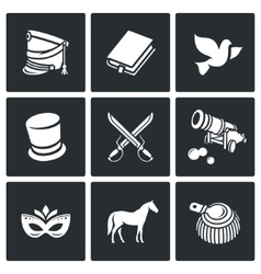 Hussars the novel war and peace icons set vector