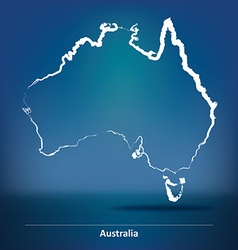 Doodle map of australia vector