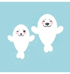 Card design funny white fur seal pups cute vector