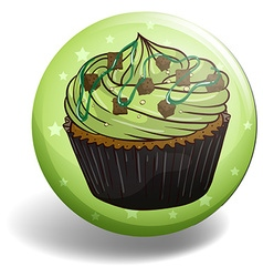 Green tea cupcake on round badge vector