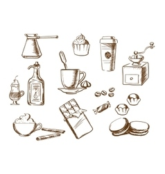 Coffee drinks ingredients and desserts sketches vector