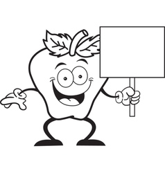 Cartoon Apple Sign vector image vector image
