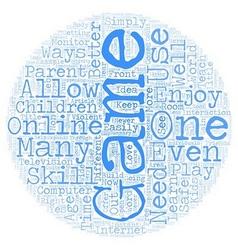 Children s online games text background wordcloud vector