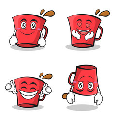 Collection set red glass character cartoon vector