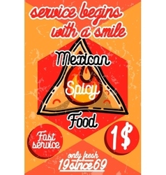 Color vintage mexican food poster vector