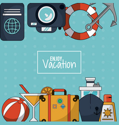 Colorful background of enjoy vacation with luggage vector