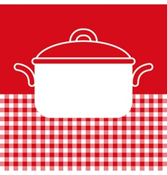 Cooking pot on red and white tablecloth background vector