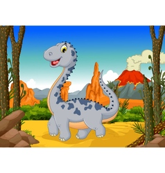 cute dinosaur cartoon with volcano landscape back vector image