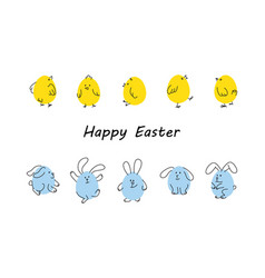 easter borders with funny bunnies and chicks vector image vector image
