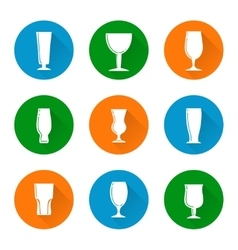 Flat beer glass icons set vector image