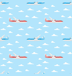 Flat style seamless pattern with plane vector