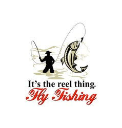 Fly fisherman catching trout with fly reel vector