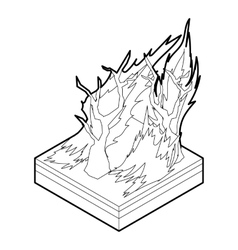 Forest fire icon outline style vector image