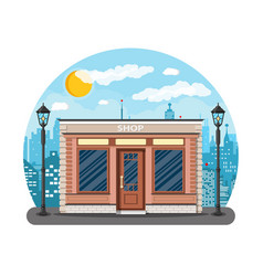 Generic shop exterior on the city street vector