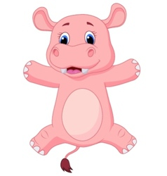 Happy baby hippo cartoon vector image
