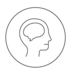 Human head with brain line icon vector