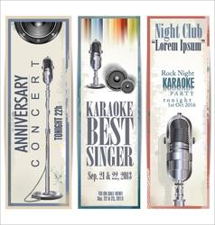 Karaoke retro banner set vector