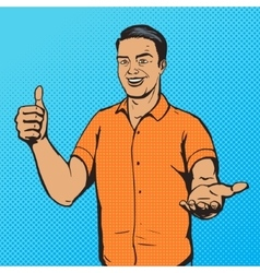 Man shows thumb gesture pop art vector image vector image