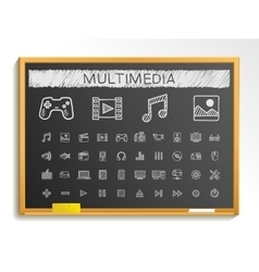 Media hand drawing line icons chalk sketch sign vector