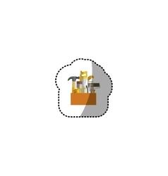 Mini sticker toolkit inside of wooden box shading vector