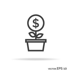 Money tree outline icon black color vector