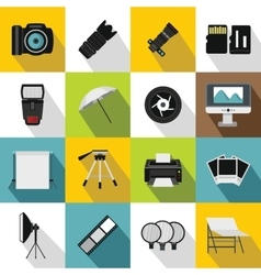 Photo studio icons set flat style vector