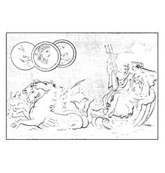 Poseidon and amphitrite vintage vector