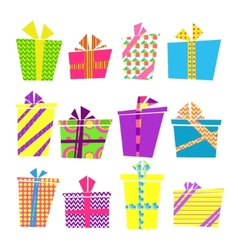 set of colorful cartoon style present boxes with vector image
