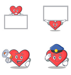 Set of heart character with board megaphone police vector