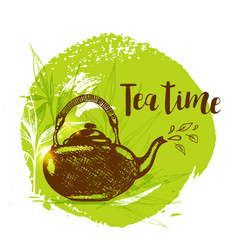 teapot and bamboo branch vector image