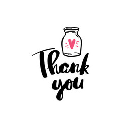 thank you jar heart lettering for posters vector image