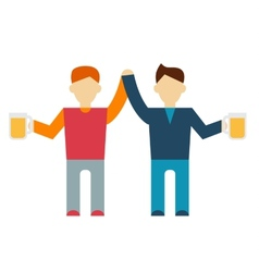 Two male employee enjoy drinking beer vector image